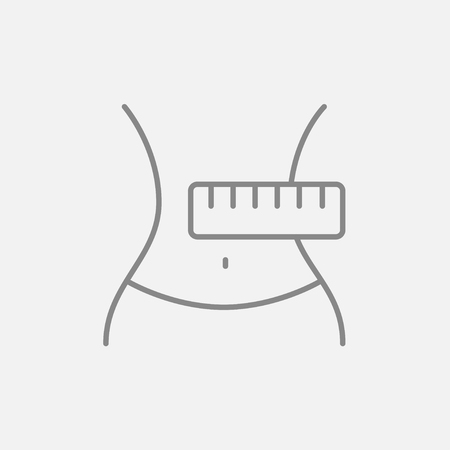 Waist with measuring tape line icon for web, mobile and infographics. Vector dark grey icon isolated on light grey background.