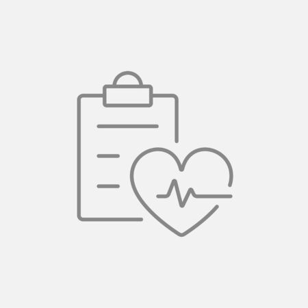 Heartbeat record line icon for web, mobile and infographics. Vector dark grey icon isolated on light grey background.