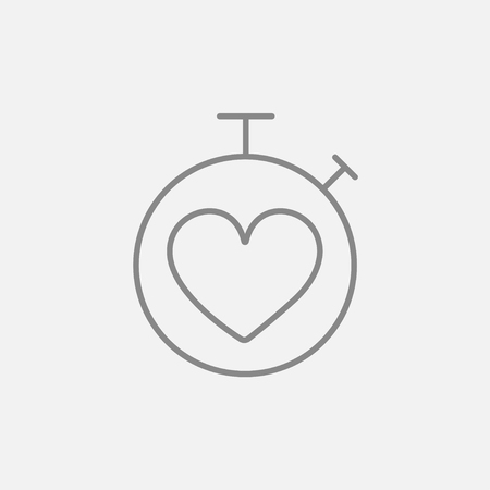 grey line: Stopwatch with heart sign line icon for web, mobile and infographics. Vector dark grey icon isolated on light grey background. Illustration