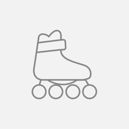 rollerskate: Roller skate line icon for web, mobile and infographics. Vector dark grey icon isolated on light grey background.