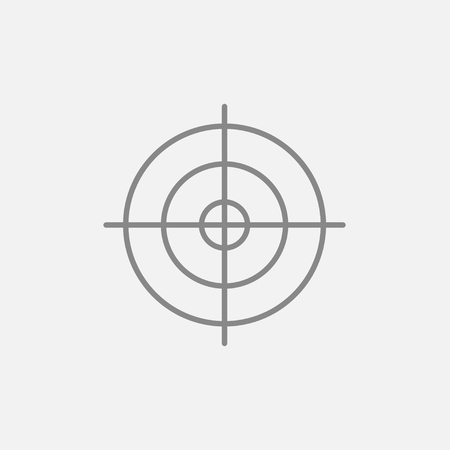 shooting target: Shooting target line icon for web, mobile and infographics. Vector dark grey icon isolated on light grey background.