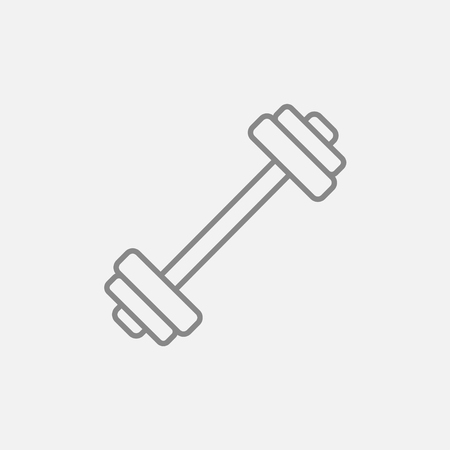grey line: Dumbbell line icon for web, mobile and infographics. Vector dark grey icon isolated on light grey background.