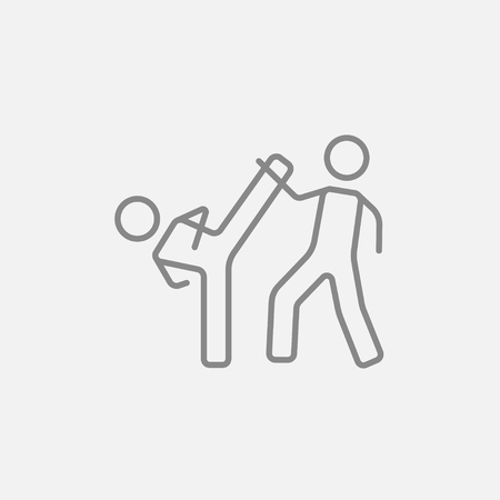 Karate fighters line icon for web, mobile and infographics. Vector dark grey icon isolated on light grey background. Illustration