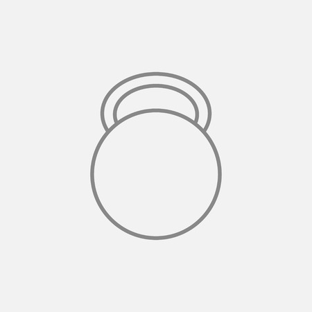 Kettlebell line icon for web, mobile and infographics. Vector dark grey icon isolated on light grey background.