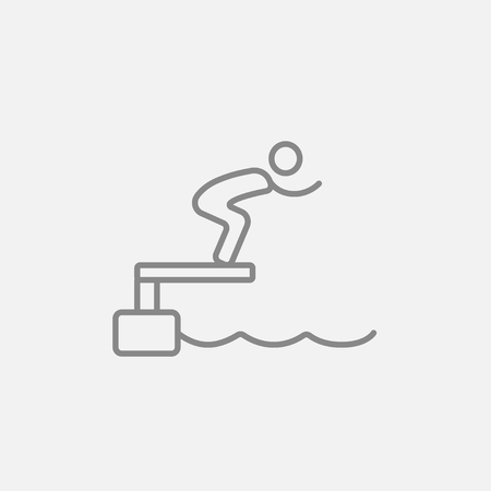 diving platform: Swimmer jumping from starting block in pool line icon for web, mobile and infographics. Vector dark grey icon isolated on light grey background.