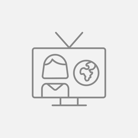 correspondent: TV report line icon for web, mobile and infographics. Vector dark grey icon isolated on light grey background. Illustration