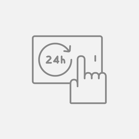 touchscreen: Finger touching 24 hours service button on a touchscreen line icon for web, mobile and infographics. Vector dark grey icon isolated on light grey background. Illustration
