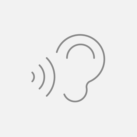 transmit: Ear and sound waves line icon for web, mobile and infographics. Vector dark grey icon isolated on light grey background.