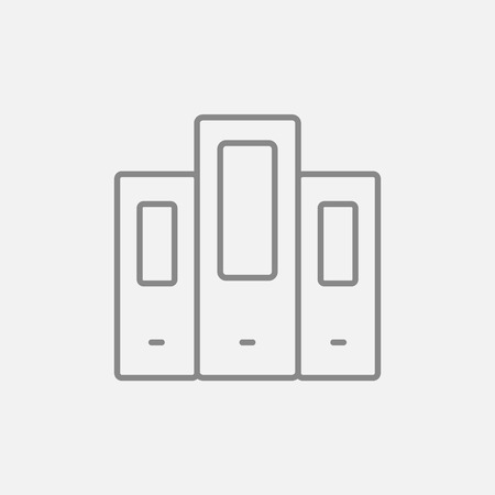 Row of folders line icon for web, mobile and infographics. Vector dark grey icon isolated on light grey background.