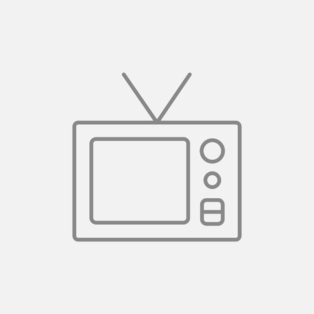 Retro television line icon for web, mobile and infographics. Vector dark grey icon isolated on light grey background. Ilustrace