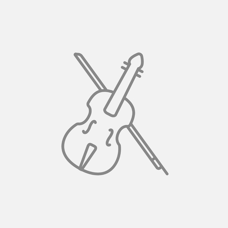 fiddlestick: Violin with bow line icon for web, mobile and infographics. Vector dark grey icon isolated on light grey background. Illustration