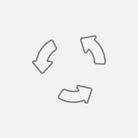 웹, 모바일 및 인포 그래픽을위한 재생 버튼 라인 아이콘. 밝은 회색 배경에 고립 된 벡터 어두운 회색 아이콘. 일러스트