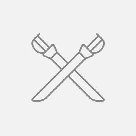 saber: Crossed saber line icon for web, mobile and infographics. Vector dark grey icon isolated on light grey background.