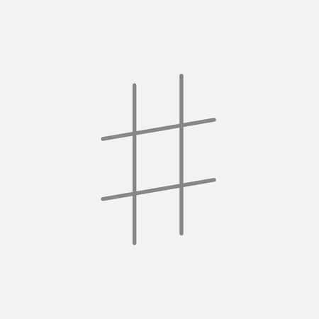 Hashtag symbol line icon for web, mobile and infographics. Vector dark grey icon isolated on light grey background.