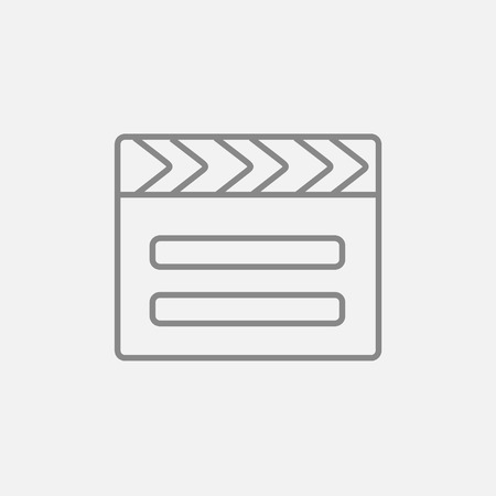 flick: Clapboard line icon for web, mobile and infographics. Vector dark grey icon isolated on light grey background. Illustration
