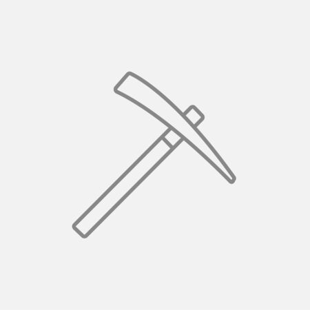 Pickax line icon for web, mobile and infographics. Vector dark grey icon isolated on light grey background. Illustration
