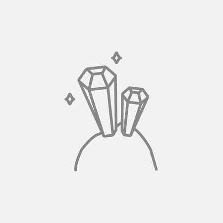 crystallization: Gemstones line icon for web, mobile and infographics. Vector dark grey icon isolated on light grey background.