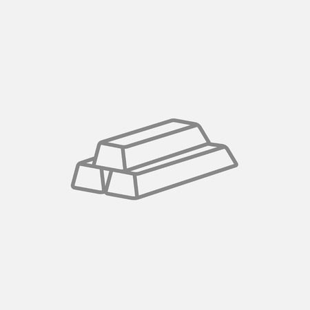 silver bullion: Golden bars line icon for web, mobile and infographics. Vector dark grey icon isolated on light grey background.