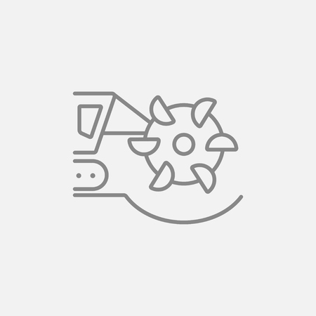 Coal machine with rotating cutting drum line icon for web, mobile and infographics. Vector dark grey icon isolated on light grey background.