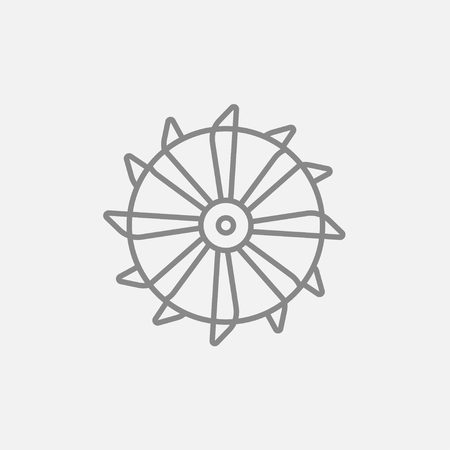 Rotating cutting drum of coal machine line icon for web, mobile and infographics. Vector dark grey icon isolated on light grey background.