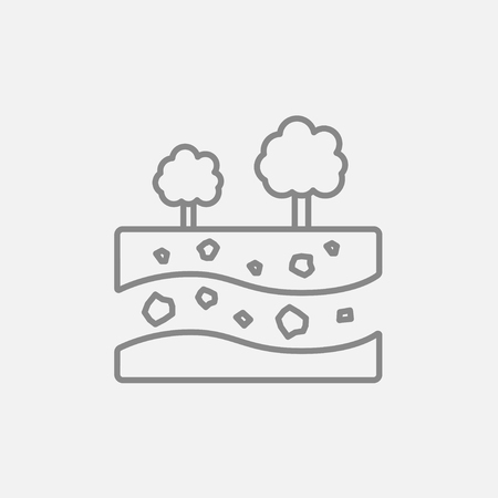 Cut of soil with different layers and trees on top line icon for web, mobile and infographics. Vector dark grey icon isolated on light grey background.