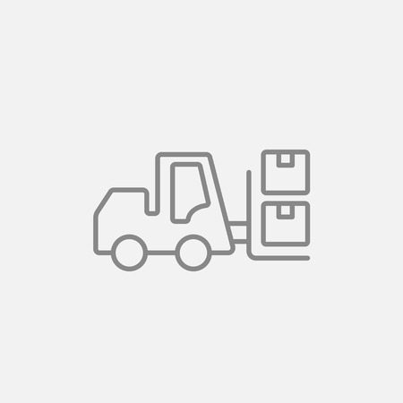 shipping boxes: Forklift shipping boxes line icon for web, mobile and infographics. Vector dark grey icon isolated on light grey background.