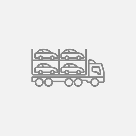 Car carrier line icon for web, mobile and infographics. Vector dark grey icon isolated on light grey background. Illustration