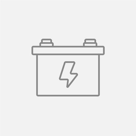amperage: Car battery line icon for web, mobile and infographics. Vector dark grey icon isolated on light grey background.