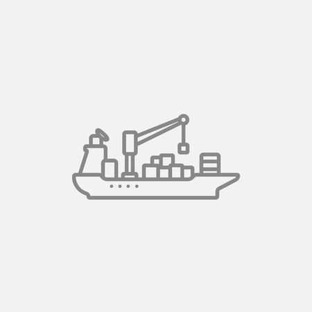 Cargo container ship line icon for web, mobile and infographics. Vector dark grey icon isolated on light grey background. Illustration