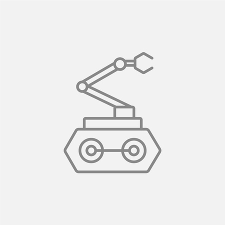 conveyor system: Industrial mechanical robot arm line icon for web, mobile and infographics. Vector dark grey icon isolated on light grey background.