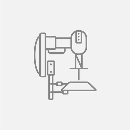 automated: Industrial automated robot line icon for web, mobile and infographics. Vector dark grey icon isolated on light grey background.