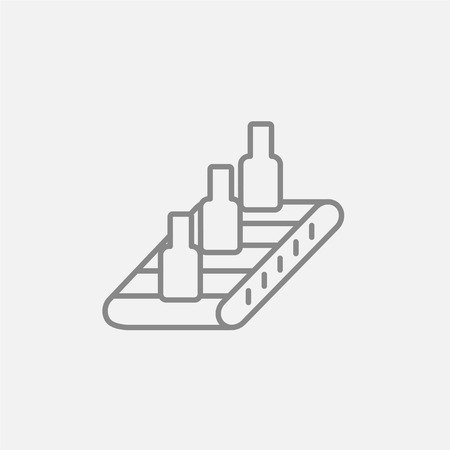 conveyor system: Bottles on conveyor belt system line icon for web, mobile and infographics. Vector dark grey icon isolated on light grey background. Illustration