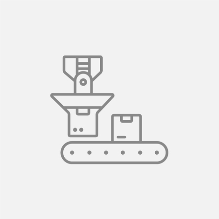 business: Cardboard box on conveyor belt line icon for web, mobile and infographics. Vector dark grey icon isolated on light grey background.