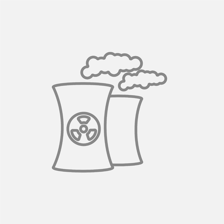 fission: Nuclear power plant line icon for web, mobile and infographics. Vector dark grey icon isolated on light grey background. Illustration