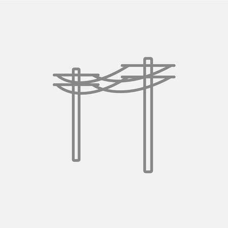 lighting column: High voltage power lines line icon for web, mobile and infographics. Vector dark grey icon isolated on light grey background.