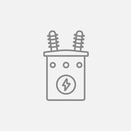 High voltage transformer line icon for web, mobile and infographics. Vector dark grey icon isolated on light grey background. Illustration