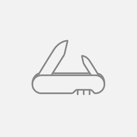foldable: Jackknife line icon for web, mobile and infographics. Vector dark grey icon isolated on light grey background.