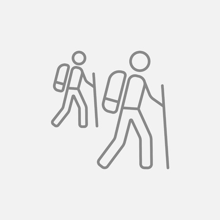hiking: Tourist backpackers line icon for web, mobile and infographics. Vector dark grey icon isolated on light grey background.