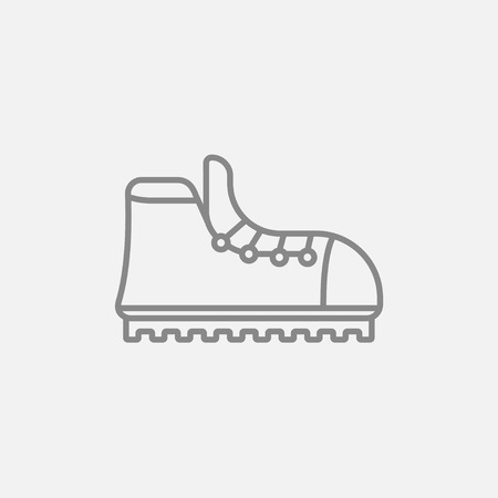hiking boot: Hiking boot with crampons line icon for web, mobile and infographics. Vector dark grey icon isolated on light grey background.
