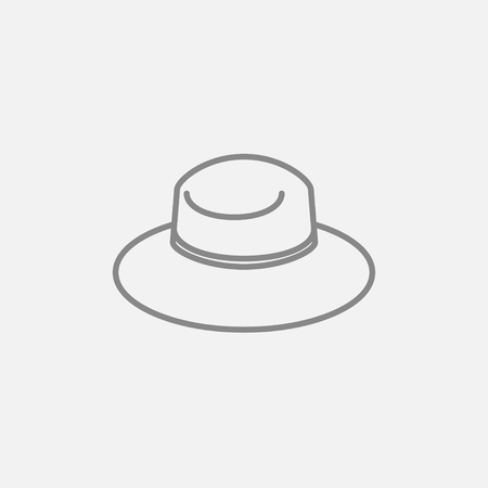 Summer hat line icon for web, mobile and infographics. Vector dark grey icon isolated on light grey background. Stock fotó - 48822157