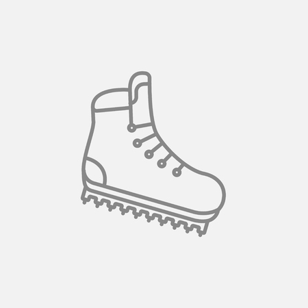 crampons: Hiking boot with crampons line icon for web, mobile and infographics. Vector dark grey icon isolated on light grey background.