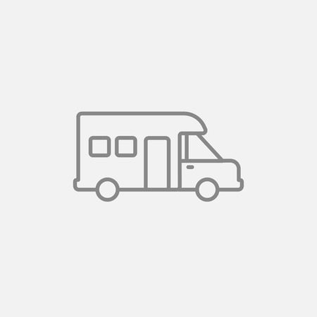 motorhome: Motorhome line icon for web, mobile and infographics. Vector dark grey icon isolated on light grey background.
