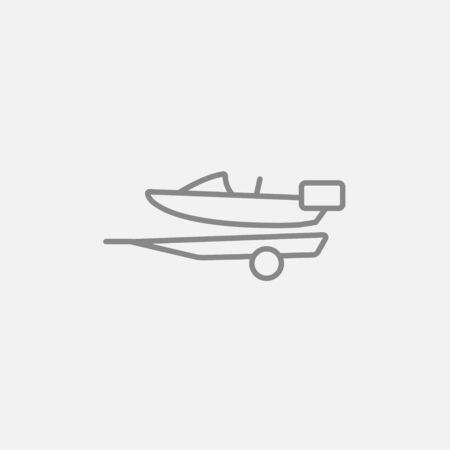 Boat on a trailer for transportation line icon for web, mobile and infographics. Vector dark grey icon isolated on light grey background.