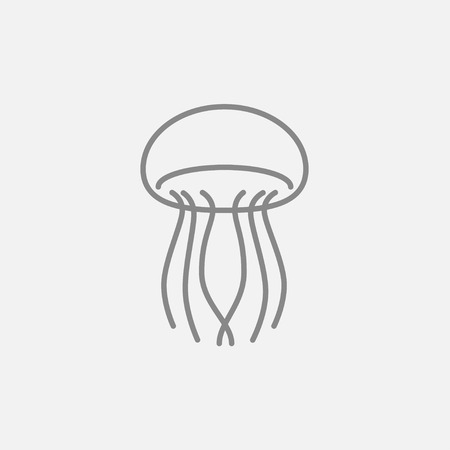 stingers: Jellyfish line icon for web, mobile and infographics. Vector dark grey icon isolated on light grey background.