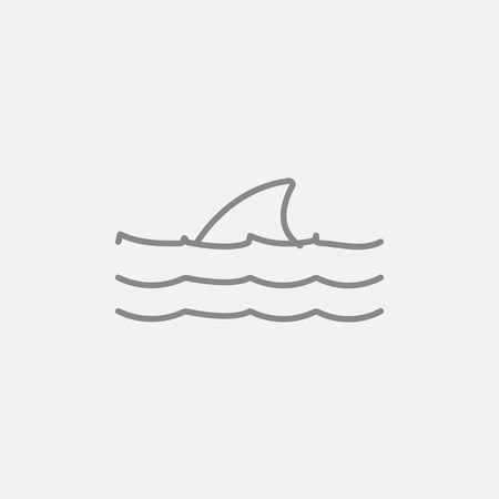 dorsal: Dorsal shark fin above water line icon for web, mobile and infographics. Vector dark grey icon isolated on light grey background. Illustration