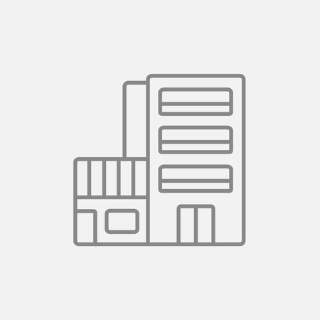 multi storey: Hotel building line icon for web, mobile and infographics. Vector dark grey icon isolated on light grey background. Illustration