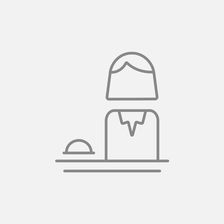 hospitality staff: Femal receptionist line icon for web, mobile and infographics. Vector dark grey icon isolated on light grey background. Illustration