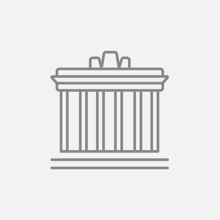 the acropolis: Acropolis of Athens line icon for web, mobile and infographics. Vector dark grey icon isolated on light grey background. Illustration