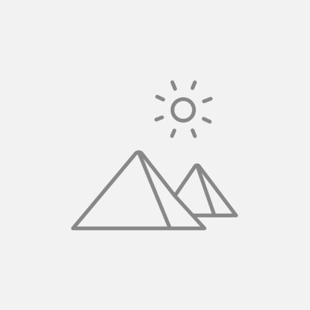 egyptian pyramids: Egyptian pyramids line icon for web, mobile and infographics. Vector dark grey icon isolated on light grey background.