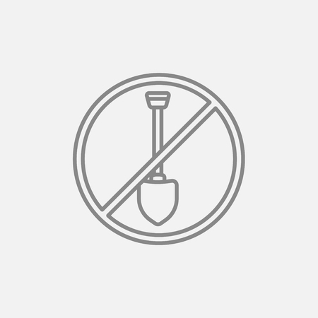 Shovel forbidden sign line icon for web, mobile and infographics. Vector dark grey icon isolated on light grey background.